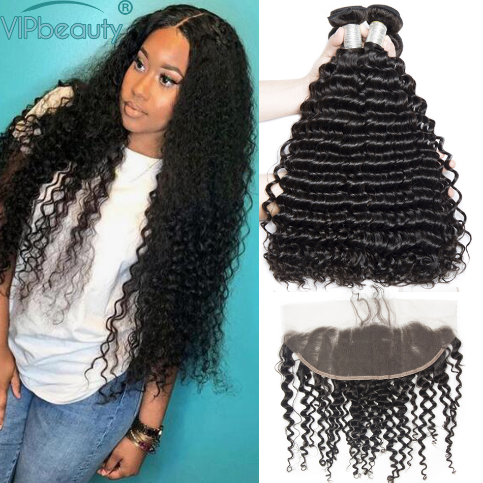 Vipbeauty Malaysian Deep Wave Pre plucked 13x4 Lace Frontal Closure with Bundles Remy Hair Curly Human