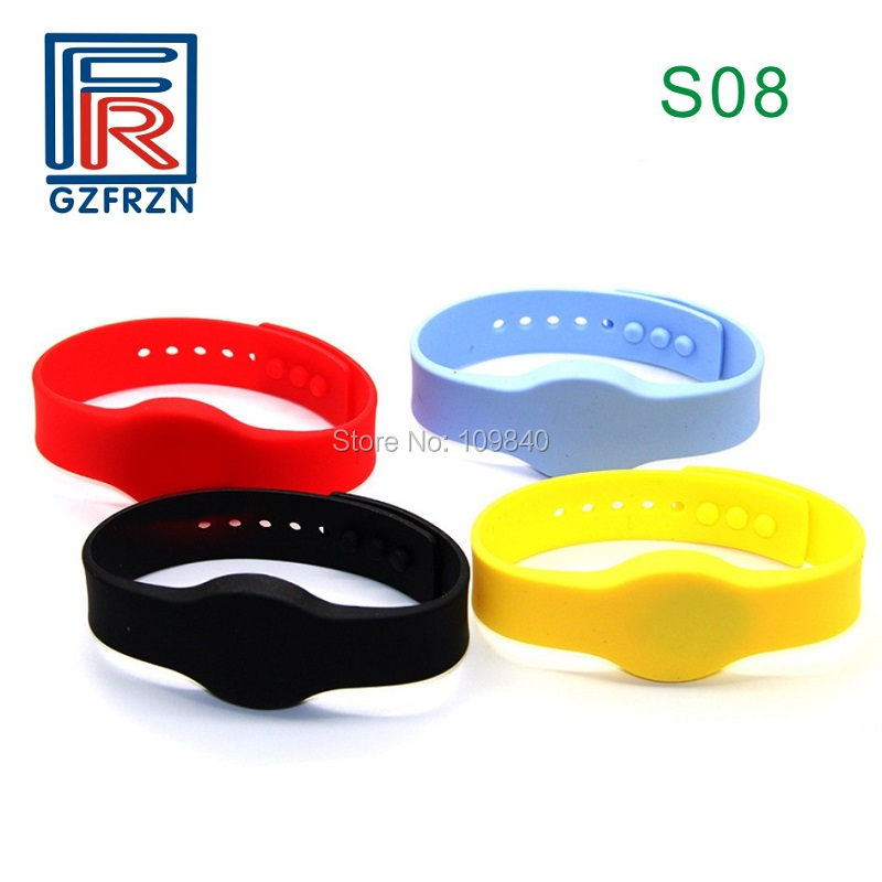 100pcs/lot S08 Style 125Khz RFID Wristband Bracelet Writable T5577 Silicone Proximity Rewrite Watch Card For Access Control