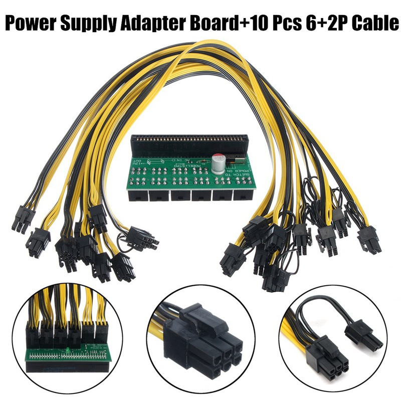 New DPS-1200FB Power Supply Breakout Adapter Board for Server Power Conversion 10pcs Cables 6 Pin for Ethereum Mining Device good working original used for lcd 46lx830a dps 143bp runtka790wjqz dps 127bp 46inch power supply board