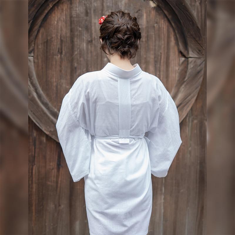 Kimono pour femme à l'intérieur porter couleur blanche doux confortable coton Robe de nuit japon traditionnel Yukata