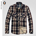 Men Cotton Plaid Casual Shirts Long Sleeve Plus Size Loose Fashion Military Office Work High Quality Luxury Dress Shirts Male
