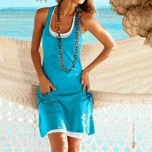 Summer Two-pieces Casual Shirt Dress Women Sleeveless Pocket  Beach Sun Plus Size S-5XL