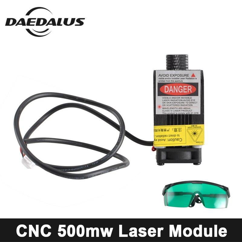 0.5 w 405NM 2.5 W/5.5 W 445NM mise au point Laser Module gravure avec commande Laser Tube Diode + lunettes de protection pour CNC bricolage Machine