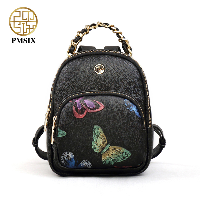 PMSIX 2017 Backpack Natural Soft <font><b>Real</b></font> Leather Backpacks Genuine First Layer Cow Leather Top Layer Cowhide Women Backpack P910003