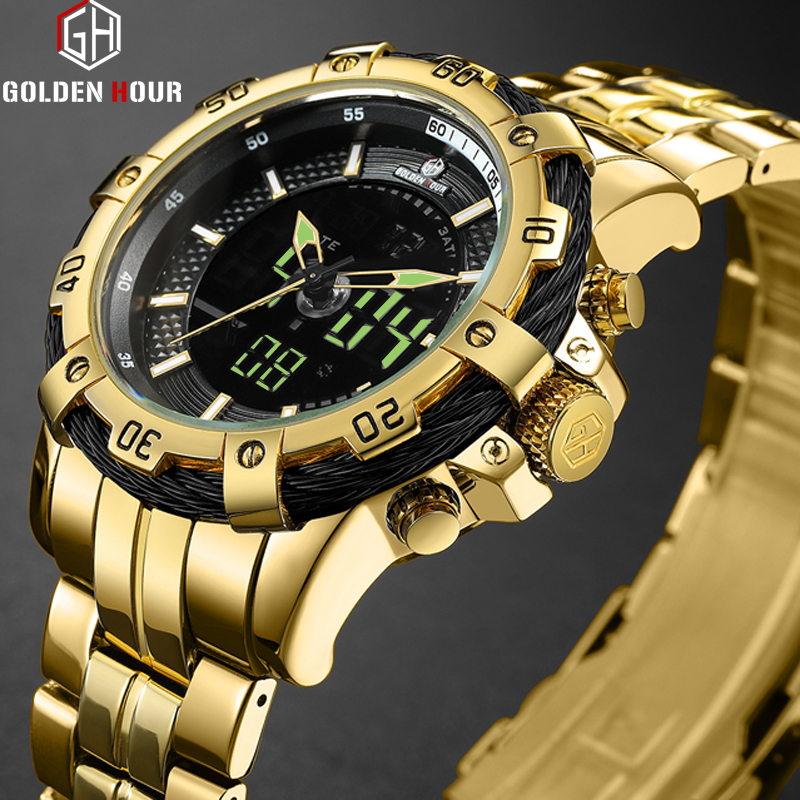 GOLDENHOUR Fashion Luxury Full Steel Men Waterproof Military Sport Watches Men's Quartz Analog Wrist Watch Relogio Masculino