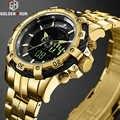 GOLDENHOUR Fashion Luxury Full Steel Men Waterproof Military Sport Watches Men's Quartz Analog Wrist Watch Relogio Masculino
