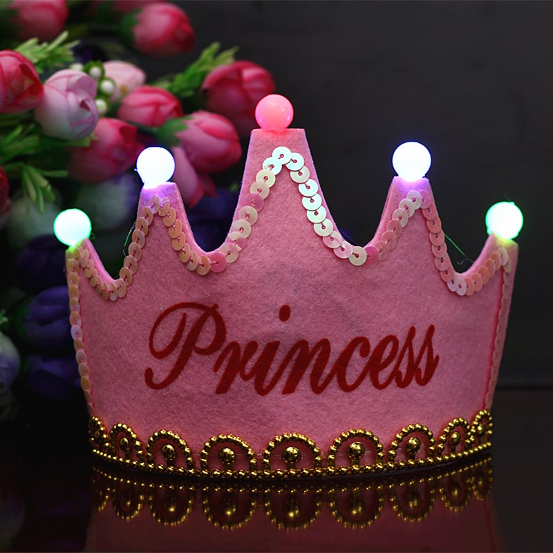 New Hot Adults Kids Birthday Party Led Crown Hat King Princess Party Cake Decoration Photo Props