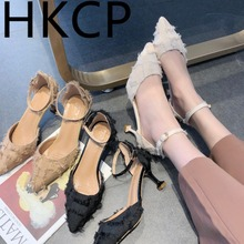 HKCP Summer 2019 New Fine-heeled Pointed Korean Edition Nethong Fashion Hundred Sets of High-heeled Sandals C104