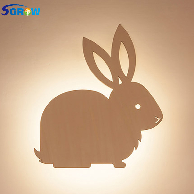 SGROW Creative Wooden Cute Rabbit Wall Lamp Children Cartoon Bedside Lights for Bedroom Dinning Room Stairs Wall Sconce Light manufacturers wholesale cartoon cute monkey zebra children room lights bedroom warm children chandeliers children room lights