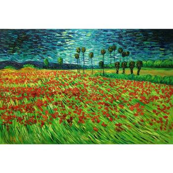 Field of Poppies II by Vincent Van Gogh Oil paintings reproduction Landscapes art hand-painted home decor