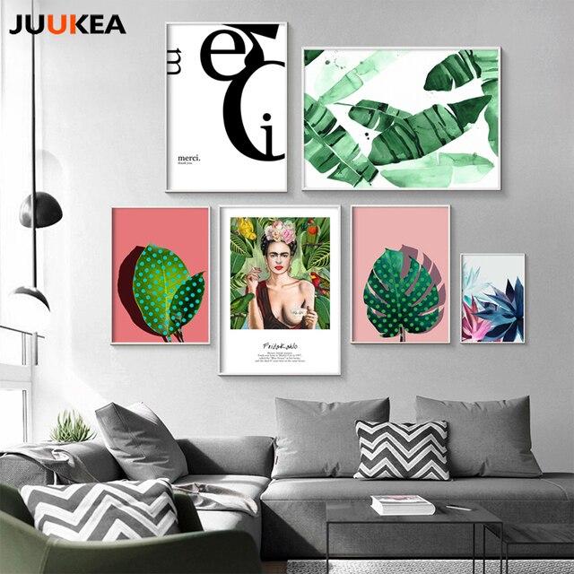 Toile Imprimer Affiche Nordique Devis Plante Verte Frida Kahlo
