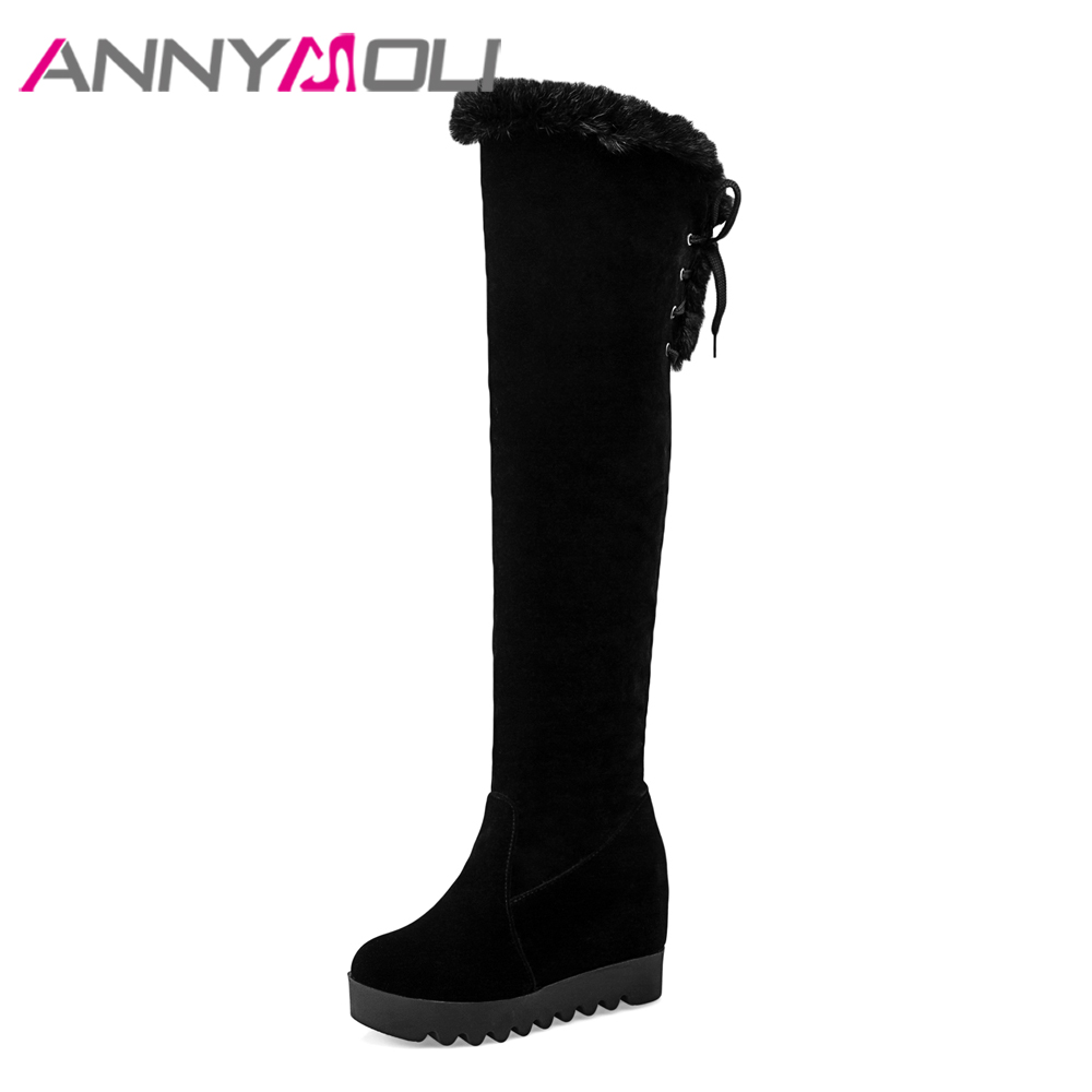 ANNYMOLI Winter Boots Women Thigh High Boots Real Fur Over the Knee Boots Warm Platform Wedge Heels Shoes 2018 Red Black Size 40 pritivimin fn81 winter warm women real wool fur lined shoes ladies genuine leather high boot girl fashion over the knee boots