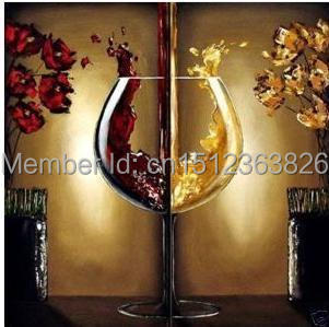 Wine Champagne Goblet 2PCS 100% Hand Painted Modern Abstract Oil Paintings  On Canvas Dining Home