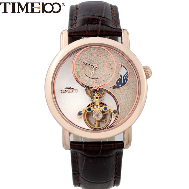 Time100 Skeleton Automatic Mechanical Watches Women's Men Unisex waterproof Sun Moon Phase Taichi Pattern Leather Strap Clock