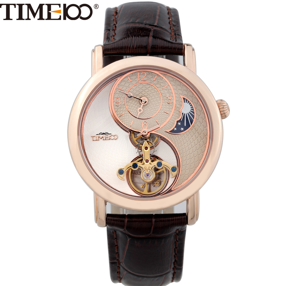 Hot Sale TIME Sun Moon Phase Taichi Pattern Genuine Leather Strap Skeleton