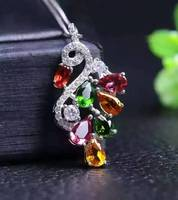 natural peridot garnet pendant S925 silver Natural Multi color gemstone Pendant Necklace trendy Flowers women party jewelry