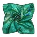[LESIDA] Alta Calidad 100% Bufanda de Seda de Flores Pintadas Bufanda Mujeres Cuadrado Verde ScarfXF88024
