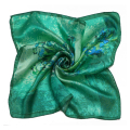 [LESIDA]High Quality 100% Silk Scarf Painted Flowers Scarf Women Green Square ScarfXF88024