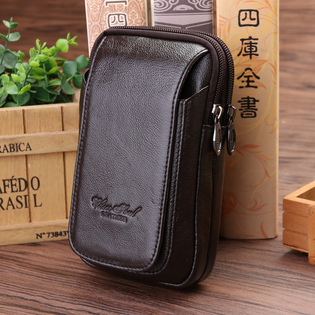 Genuine Leather High Quality Horizontal, vertical two multifunctional pockets Men  Waist Bag Male Travel Fanny Pack Bag Wallet