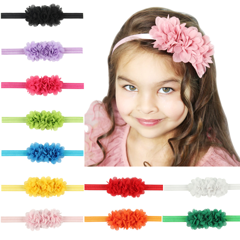Chiffon Flower baby girl headband Infant hair accessories Tie bow newborn   Headwear   tiara headwrap Gift Toddlers bandage Ribbon
