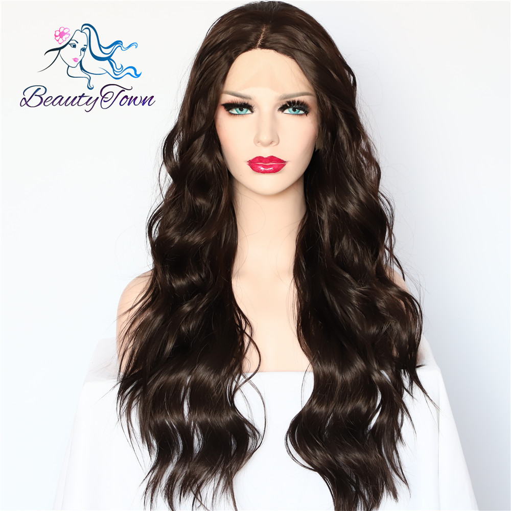 BeautyTown Brown Color Natural Wave Futura No Tangle Heat Resistant Hair Party Synthetic Lace Front Wigs