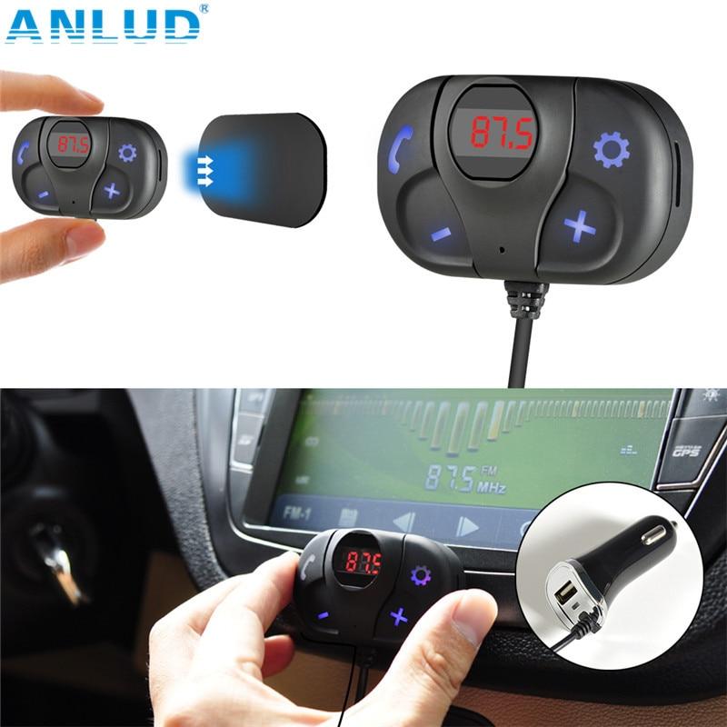 ANLUD FM-zender Bluetooth Auto FM-zender Handsfree carkit TF-kaart Muziekspeler Magnetische basis USB-oplader FM-modulator