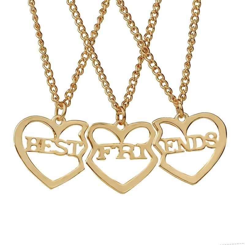 Legjobb barátok Angol ábécé varrása Medálok Nyaklánc 3db / készlet megtört szív Arany / Ezüst / Rózsa arany Barátság nyaklánc