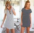 Europe and the United States stripe sea soul round collar dovetail dress Woman with short sleeves