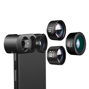 Fisheye Lens Cell Phone Lens 20X Macro Lens 2.0X Zoom Telephoto Lens 120 Wide Angle Lens 180 for iPhone X Samsung Smartphones