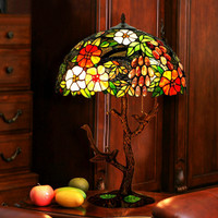 Antique Stained Glass Bird Art Decor Luxury Beautiful Large Bedroom Bedside Table Lamps For Restaurant Lounge Coffee Hotel Sduty