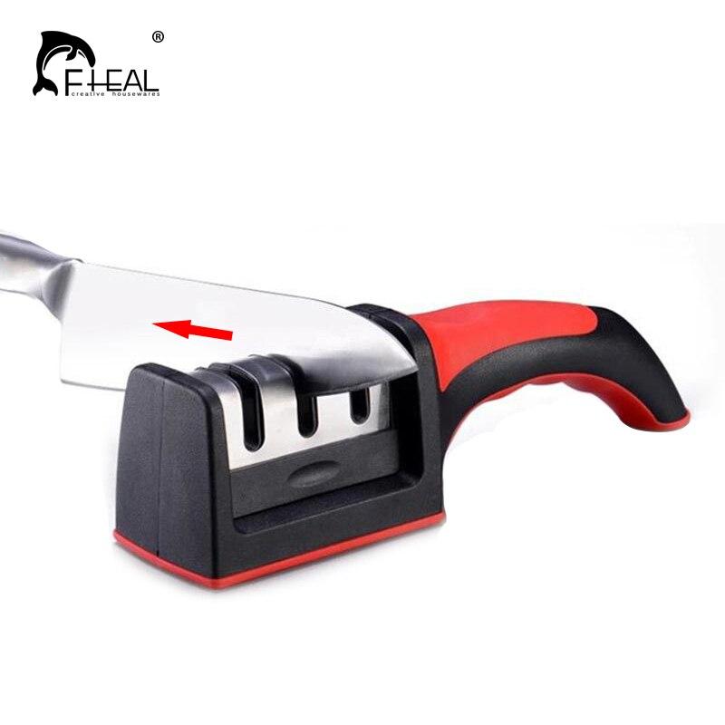 FHEAL 1 unid PC Dropshipping afilador de cuchillos afilador rápido profesional 3 etapas afilador de cuchillos molinillo de goma de silicona antideslizante