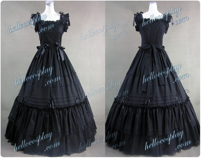 Japanese Anime Outfit Southern Belle Gothic Lolita Ball Gown Dress Black Dress H008