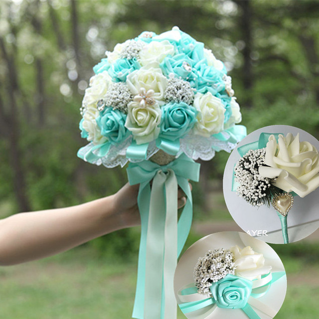 New Tiffany Blue Wedding Bouquets Pe Rose And White Bridal Bouquet Beaded Brooch Pearl Bowknot 22cm Diameter
