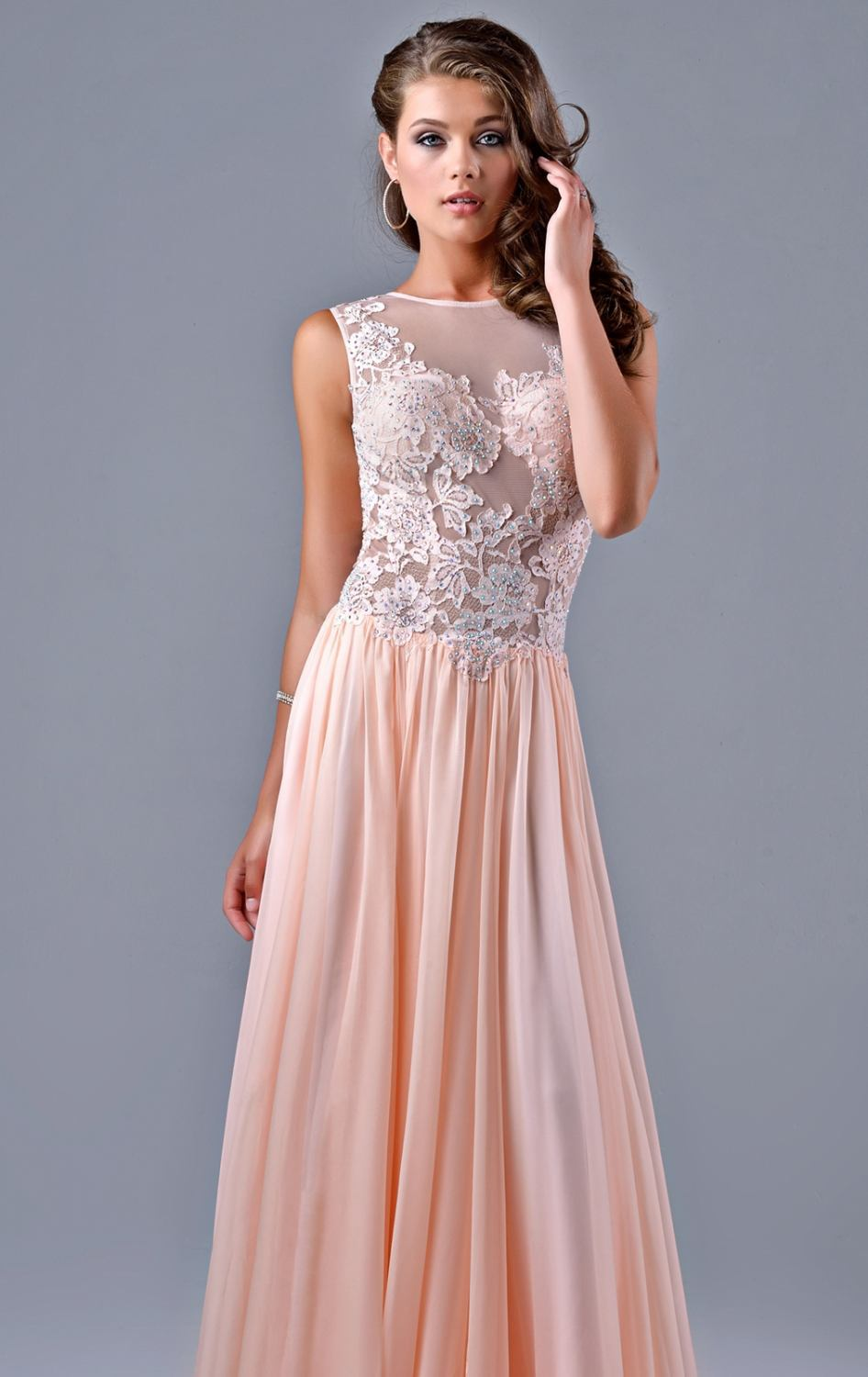 b6367032cea2 Free Shipping 2015 New Arrival Soft Pink Chiffon Prom Dress Low V Back Long  Prom Dresses Beaded Lace See Through Bodice-in Prom Dresses from Weddings  ...