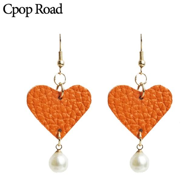 Cpop Сердце Оранжевый натуральная серьги из кожи для женщин модная, жемчужная себе длинные висячие серьги Модные Украшения Женские аксессуары