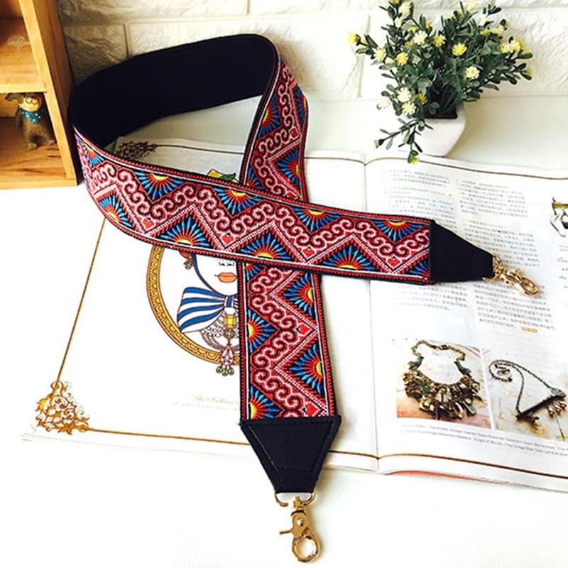 Vintage Wide Straps For Shoulder Bags Women Bag Accessories Embroidery Flower Adjustable Handbag Belt Messenger Bag Belt Strap