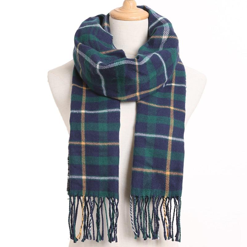 [VIANOSI] клетчатый зимний шарф женский тёплый платок одноцветные шарфы модные шарфы на каждый день кашемировые шарфы - Цвет: 24