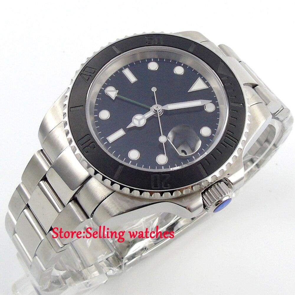 40mm parnis black dial ceramic bezel GMT date window automatic mens watch 40mm parnis white dial vintage automatic movement mens watch p25