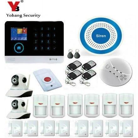 YobangSecurity APP WiFi GSM GPRS RFID Antivol Maison D'alarme Maison Système D'alarme de Sécurité Vidéo Caméra IP Sirène Capteur de Fumée D'incendie