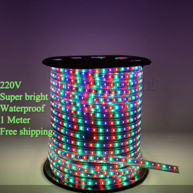 High quality 220V Waterproof flexible light  IP66 3528  LED Strip light 60led/m 1M led roll outdoor  led flashlight