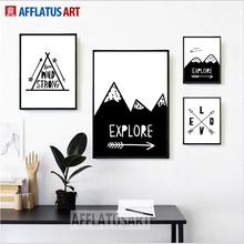 AFFLATUS Explore Mountain Love Arrow Nordic Poster Wall Art Print Canvas Painting Pictures Style Kids Decoration