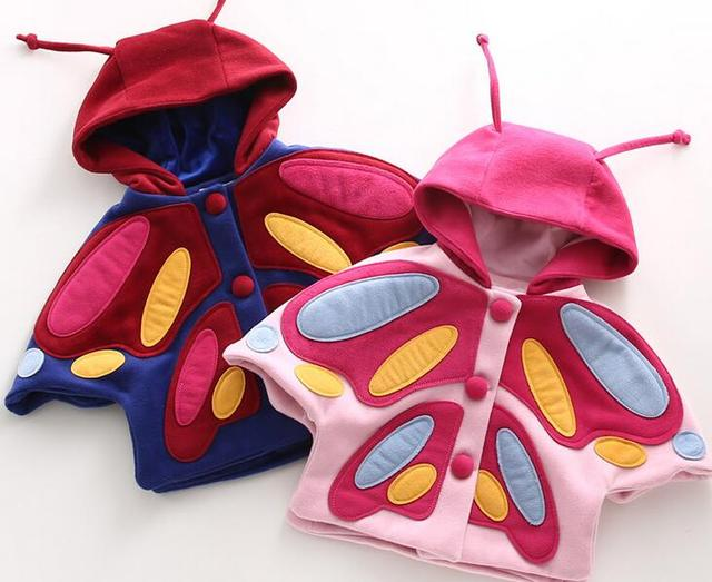 [Bosudhsou.] JH-11 Fashion baby girl coats butterfly baby wool cloak Toddler clothes girls cape outerwear Children Clothing