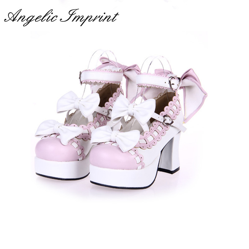 Custom Japanese Harajuku Lolita Cosplay Shoes Princess Lace Trim Double Straps Sweet Bow Chunky High Heels Platfrom Shoes princess sweet lolita shoes royal harajuku pink strawberry bell cute bow round toe pumps for young girl custom color can choose