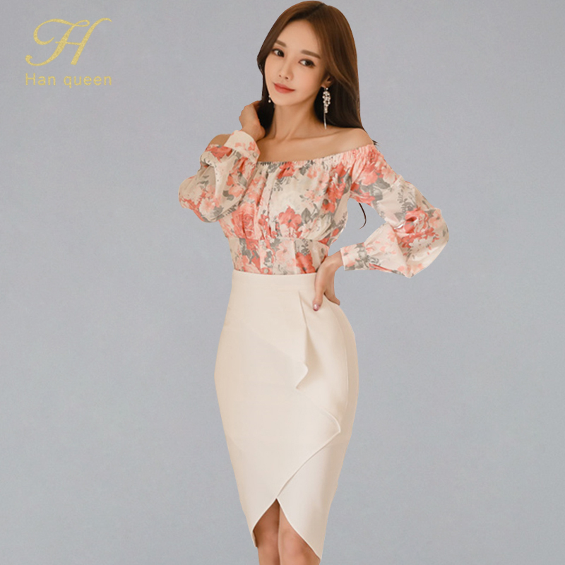 H Han Queen Women's Summer OL 2 Pieces Suits Slash Neck Print Shirt Crop Top + Solid Color Sheath Bodycon Pencil Skirt Work Set