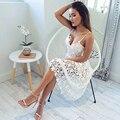 A céu aberto Crochet Lace Vestido Branco Spaghetti Strap robe Sexy Mulheres Vestidos de Festa vestido de festa LFYZ507