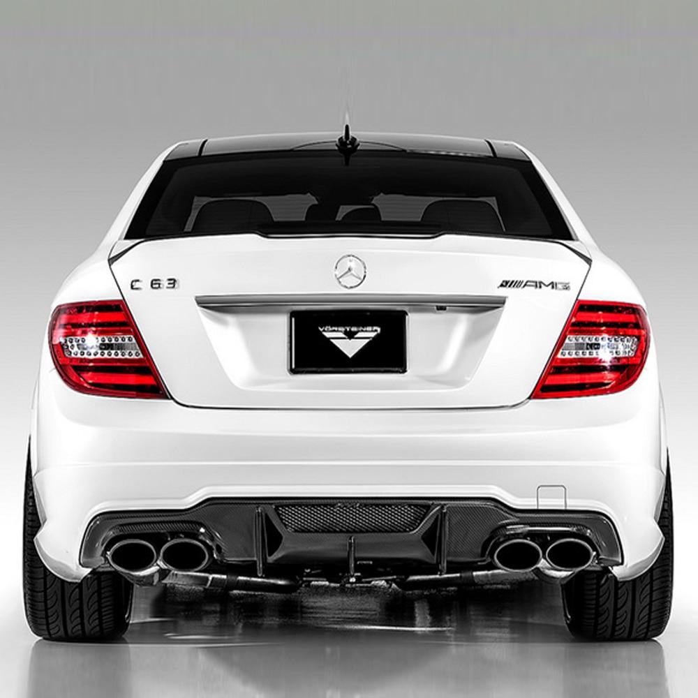 W204 C63 AMG Carbon Fiber Rear Bumper Lip Diffuser for Mercedes Benz 2011-2014