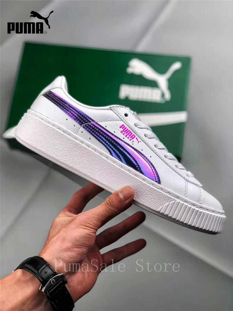 ... Puma Basket Platform Rainbow Women s Badminton Shoes 362223-05 Purple  White Color Rihanna Shoes ... e7db4dee4