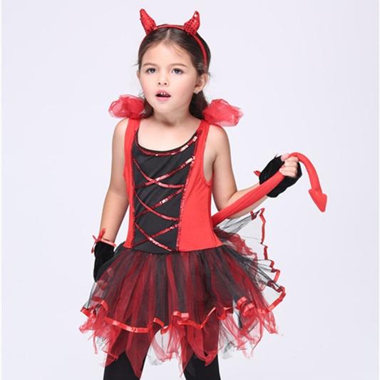 2017 Devil Halloween Costumes Red Cat Girls Tutu Cosplay Fancy Dress Devilina Halloween Birthday Party Fantasia Costume