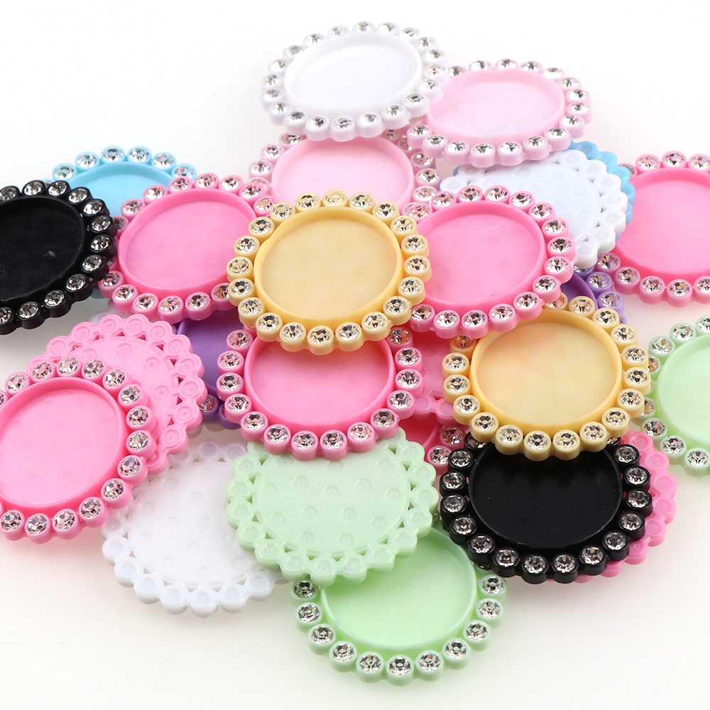 50Pcs/set Colorful Round Base Setting Rhinestone Cabochon Base Frame Mix Color Resin Flatback Setting Accessory 30mm Inner 20mm