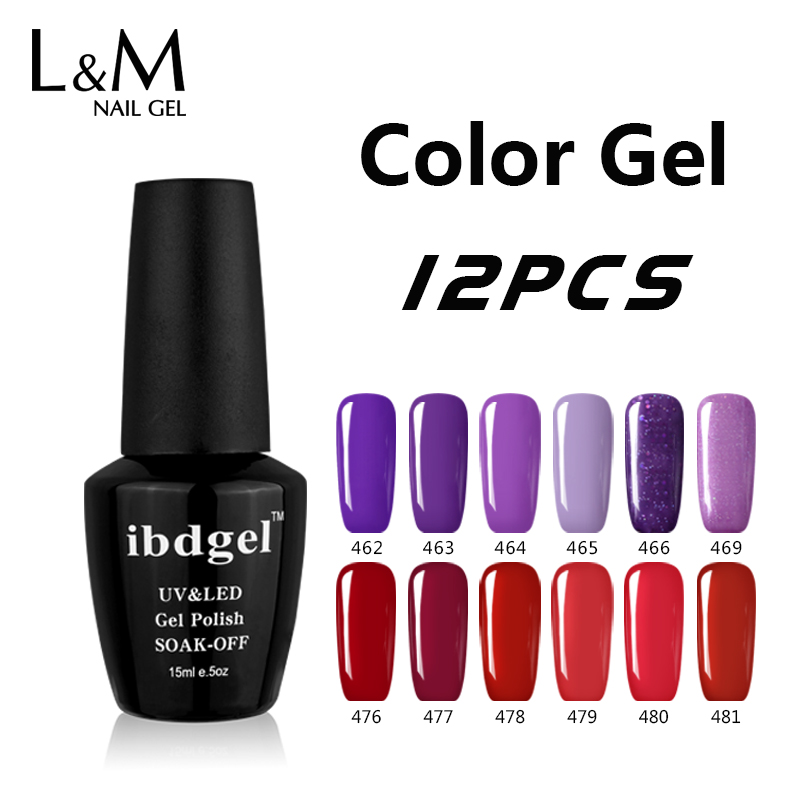 12Pcs Set For Nail Gel Polish Black ibdgel Gel Nails Peel Off Uv kit ...